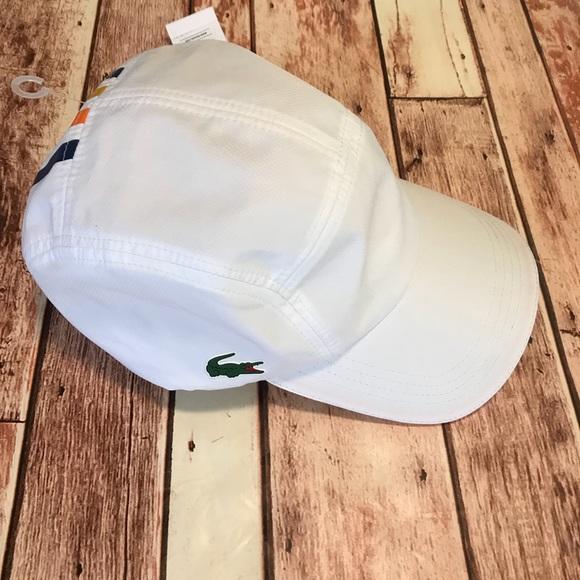 0068a93c793 Lacoste Diamond Weave Taffeta Sport Hat White NWT